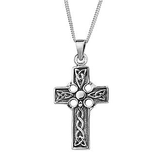 "Celtic Holy Trinity Knot Cross Shape Necklace Pendant Large - Includes 22"" Silver Chain"