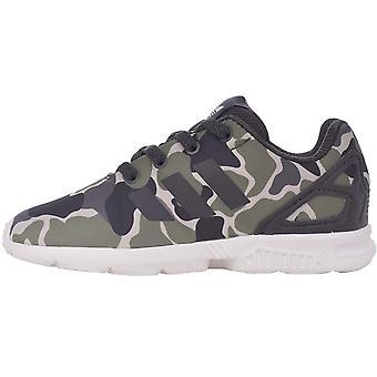 Adidas Originals drenge ZX flux EL I lace up camo casual trænere sko grøn