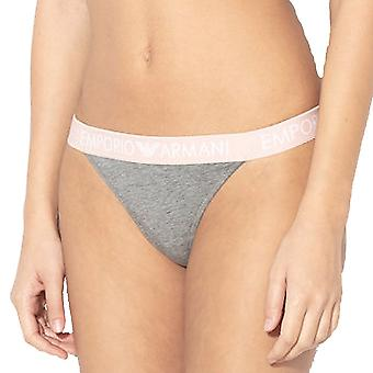 Emporio Armani Women Stretch Cotton Thong, Dark Grey Melange, Medium