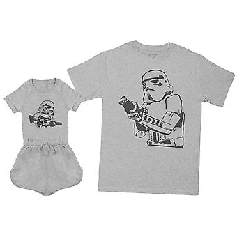 Baby Storm - Daddy Storm - Mens T Shirt & Baby Girl Playsuit