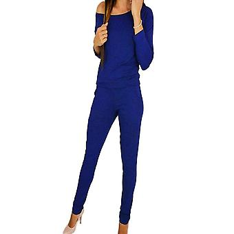 Vincenza womens chic casual off schouder lange mouw jumpsuit playsuit casual