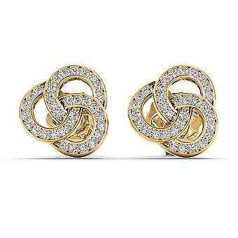 Igi sertifioitu kiinteä 10k keltainen kulta 0,20 ct pyöreä leikattu timantti muoti korvakorut