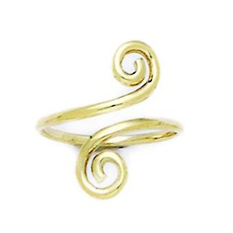 14k Giallo Oro Regolabile Spiral Emana Gioielli Toe Ring Regali per le donne