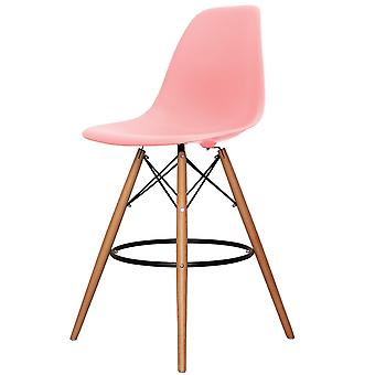 Charles Eames Style Pastel Pink Plastic Bar Stool