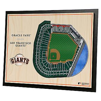 Youthefläkt trä väggdekoration stadion San Francisco Giants 43x33cm