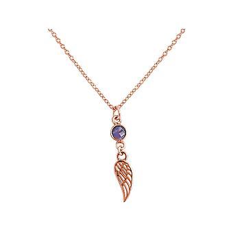 Gemshine halskæde engel fløj skytsengel 925 sølv rosa guld belagt ametyst