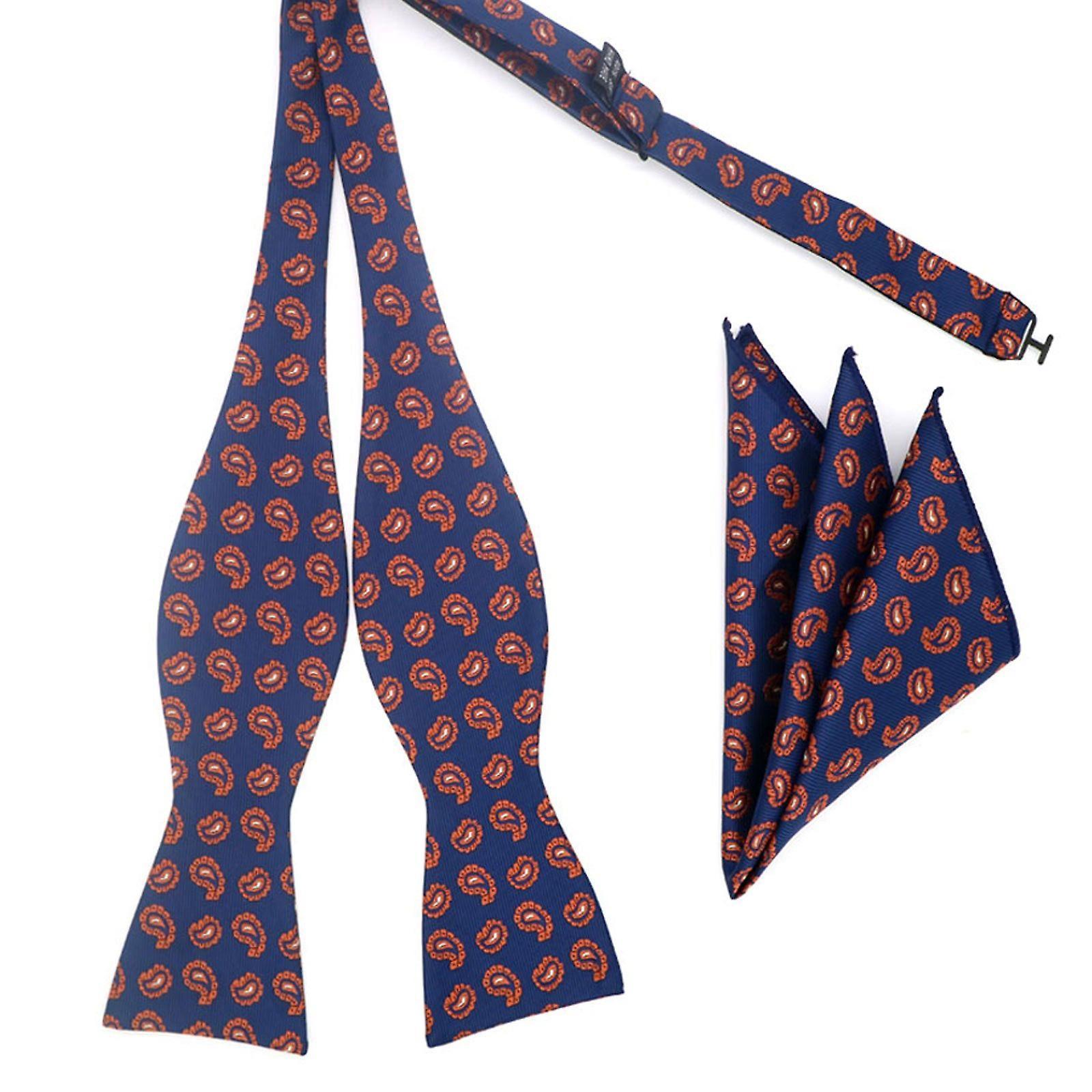 Navy blue & orange paisley self bow tie & pocket square
