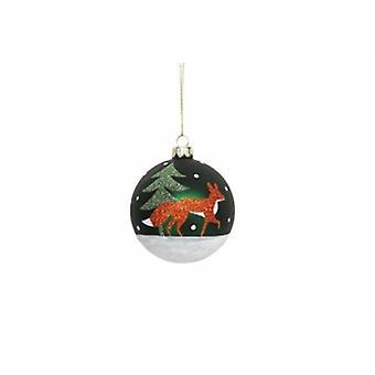 Gisela Graham Fox & Tree Glass Christmas Bauble
