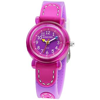 JACQUES FAREL Kids Wristwatch Analog Quartz Girl Silicone Ribbon KFW 3222 pink