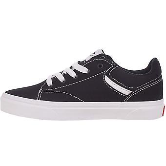 Vans Boys Kids Seldan Low-Top Casual Canvas Trainers Sneakers -  Black/White