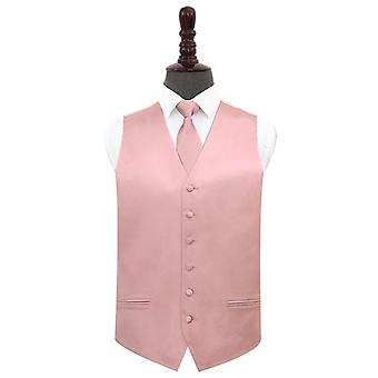 Dusty Pink Plain Satin Wedding Waistcoat & Tie Set