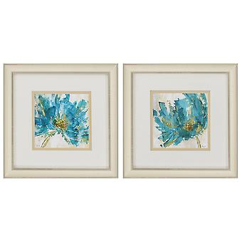"""12"""" X 12"""" Champagne Gold Color Frame  Blue Infusion (Set of 2)"""
