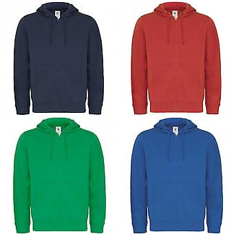 B & C Erkekler Tam Zip Koleji Kapüşonlu Sweatshirt / Hoodie