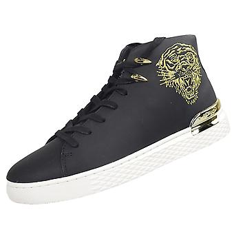 Ed Hardy New Beast High Top Black/white/gold Trainers