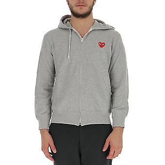 Comme Des Garçons Play P1t1681 Men's Grey Cotton Sweatshirt