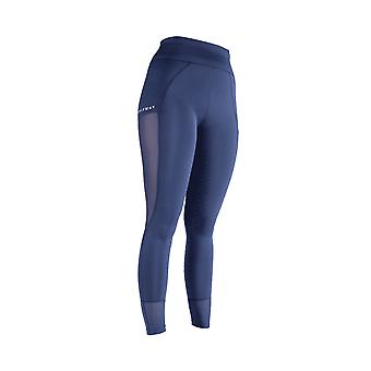Bridleway Paige Womens Mesh Riding Tights - Navy Blue