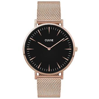 Cluse Watches Cw0101201003 La Boheme Black & Rose Gold Mesh Ladies Watch