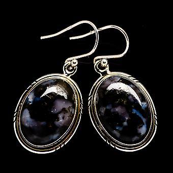 """Gabbro Stone Earrings 1 1/2"""" (925 Sterling Silver)  - Handmade Boho Vintage Jewelry EARR399596"""