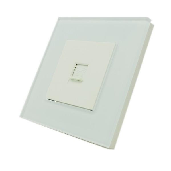 I LumoS White Glass RJ45 ADSL 568A/B Cat 6 Internet Data Wall Single Socket