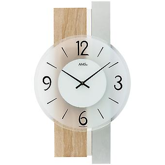 AMS 9554 wall clock quartz analog silver modern wooden Sonoma optics with glass