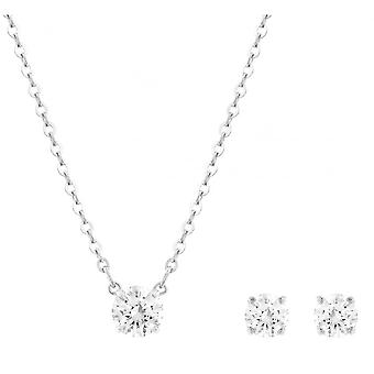 Swarovski Attract Rhodium Plated & Clear Crystal Pendant & Earring Set