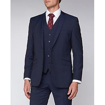 Navy Shadow Check Suit Jacket