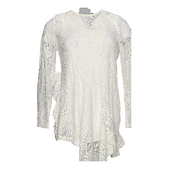 Women with Control Women's Top Ruffle Lace Tunic and Tank Ivory A350623
