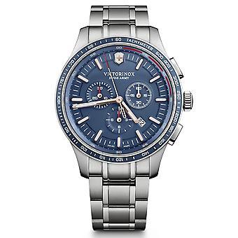 Victorinox Sveitsin armeijan allianssi Urheilu Kronografi Sininen Dial Hopea Ruostumaton Teräs Rannekoru Men's Watch 241817
