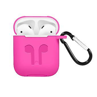 Apple AirPods (1. und 2. Gen) Silikon Schutzhülle mit Karabinerhaken – Rosa