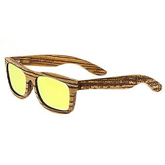 Earth Wood Maya Polarized Sunglasses - Zebrawood/Yellow