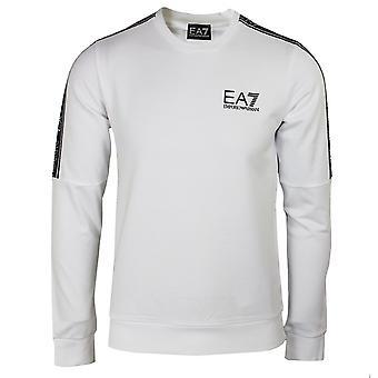 Ea7 emporio armani men's white taped sweatshirt