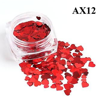 3d Nail Decor -red Nail Glitter Flakes With Love Heart Shape Slider For Nail Art Paillette Manicurer