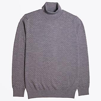 Thomas Maine  - Textured Roll-neck Knit - Grey