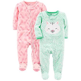 Simple Joys by Carter's Baby Girls 2-Pack Fleece Footed Sleep and Play, Kitty...