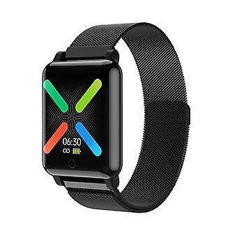 Waterbestendige smartwatch met metalen armband - Zwart