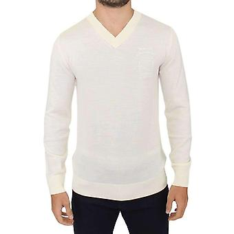 Off White Wool Blend V-neck Pullover Sweater -- SIG1132229