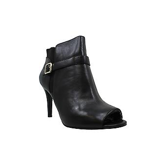 Marc Fisher Shimmee Peep-Toe Booties Black Leather 11W
