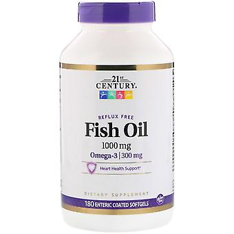21st Century, Fish Oil Reflux Free, 1,000 mg, 180 Enteric Coated Softgels