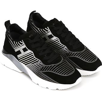 Hogan Women's fashion sneakers shoes in black leather with silver pattern