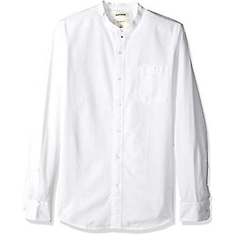 Goodthreads Men's Slim-Fit Long-Sleeve Band-Collar Oxford Shirt, -white, X-Sm...