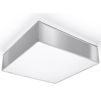 2 Light Flush Square Ceiling Light Silver, E27