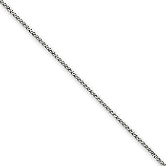 14k White Gold Lobster Claw Closure 1.65mm Solid Spiga Chain Anklet Lobster Claw Jewely Gifts for Women - Comprimento: 9 a