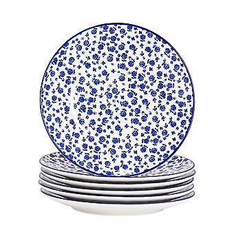 Nicola Spring 6 Piece Daisy Patterned Side Plate Set - Small Porcelain Dining Plates - Navy Blue - 19cm