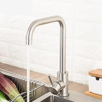 Stainless Steel Kitchen Faucet, Brushed Process Swivel Basin Faucet With 360