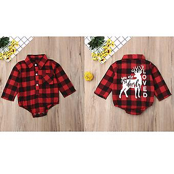 Noël Nouveau-né Bébé Noël Romper Bodysuit Long Sleeve Plaid Check Shirt