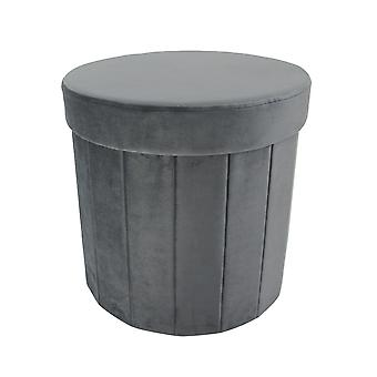 Country Club Foldable Storage Ottoman, Grey