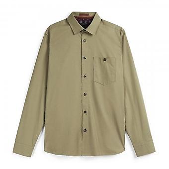 Тед Бейкер Эсскин LS Рабочая одежда Простая рубашка Натуральный бежевый