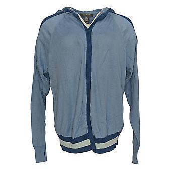 Lisa Rinna Collection Women's Sweater Hooded Cardigan Blue A305077