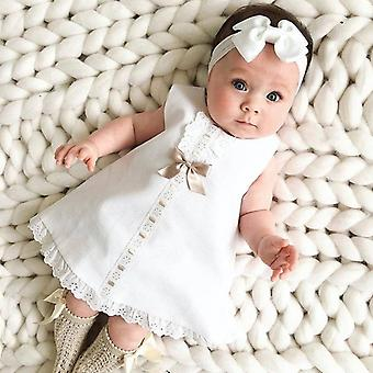 طفل فتاة ملابس القوس الدانتيل هيم بلا أكمام عصابة رأس قطعتين الأميرة اللباس