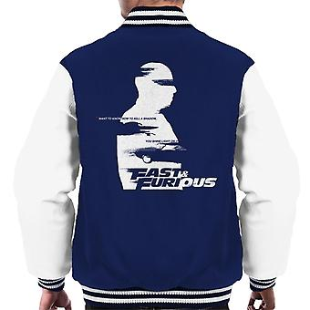 Fast and Furious Want To Know How To Kill A Shadow Quote Men's Varsity Jacket